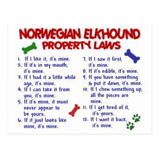 NORWEGIAN ELKHOUND Property Laws 2 Postcard