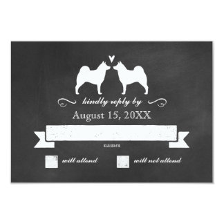 Norwegian Elkhound Silhouettes Wedding RSVP Card