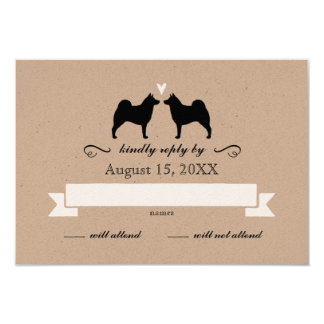 Norwegian Elkhound Silhouettes Wedding RSVP Reply Card