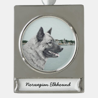 Norwegian Elkhound Silver Plated Banner Ornament