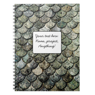 Norwegian Fish Scale Pattern Slate Roof Spiral Notebook