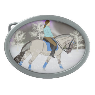 Norwegian Fjord Dressage Horse and Rider Oval Belt Buckle