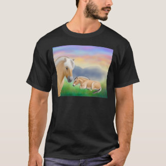 Norwegian Fjord Horses at Dawn Dark T-Shirt