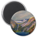Norwegian fjord oil pastel 2 inch round magnet