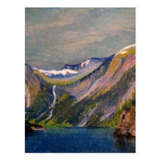 Norwegian fjord oil pastel postcard