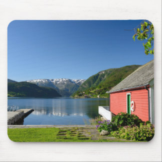 Norwegian fjord view and boathouse mouse pad