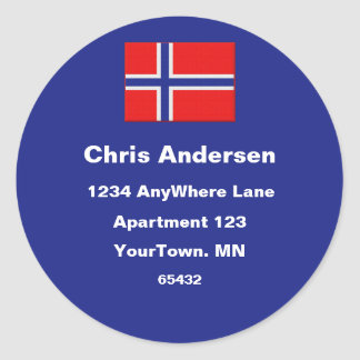 Norwegian Flag Address Label