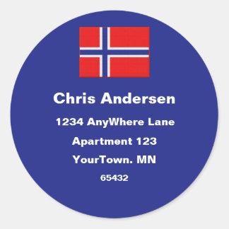 Norwegian Flag Address Label Stickers