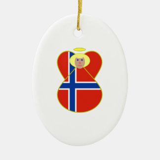 Norwegian Flag Angel Blonde Hair Ceramic Ornament