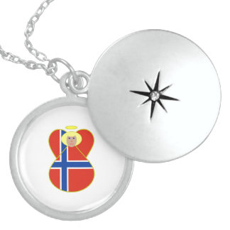 Norwegian Flag Angel Blonde Hair Sterling Silver Necklace