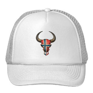 Norwegian Flag Bull Skull Mesh Hats