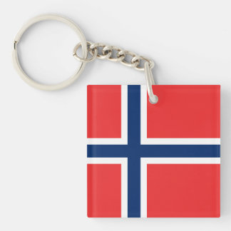 Norwegian Flag Double-Sided Square Acrylic Keychain
