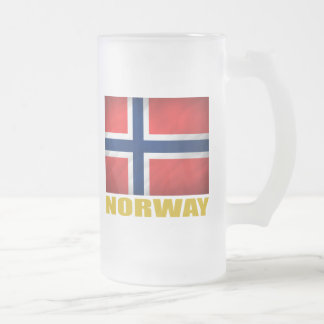 Norwegian Flag Frosted Glass Beer Mug