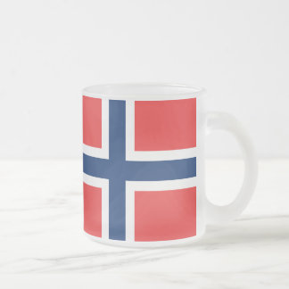 Norwegian flag frosted glass coffee mug
