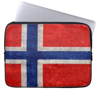 Norwegian Flag Grunge Distressed Laptop Sleeve