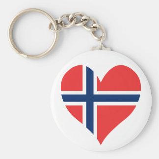 Norwegian Flag Heart Basic Round Button Keychain