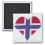 Norwegian Flag Heart Cross Stitch Nordic Norway 2 Inch Square Magnet