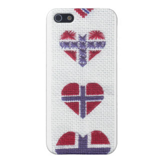 Norwegian Flag Heart Cross Stitch Nordic Norway Case For iPhone 5