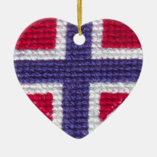 Norwegian Flag Heart Cross Stitch Nordic Norway Ch Double-Sided Heart Ceramic Christmas Ornament