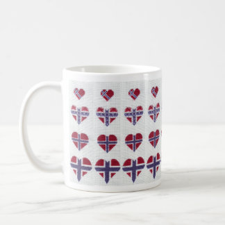 Norwegian Flag Heart Cross Stitch Nordic Norway Coffee Mug