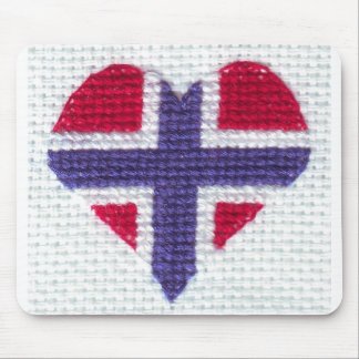 Norwegian Flag Heart Cross Stitch Nordic Norway Cr Mousepad