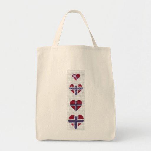 Norwegian Flag Heart Cross Stitch Nordic Norway Hj Bags