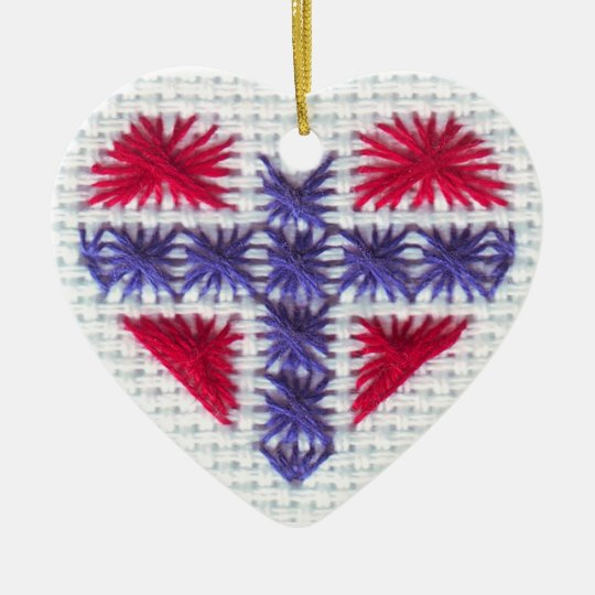 Norwegian Flag Heart Cross Stitch Nordic Norway Hj Ceramic Ornament