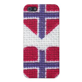 Norwegian Flag Heart Cross Stitch Nordic Norway Sc iPhone 5 Cover