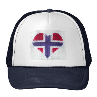 Norwegian Flag Heart Cross Stitch Nordic Norway Trucker Hat
