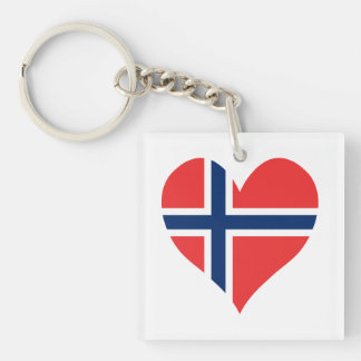 Norwegian Flag Heart Keychain
