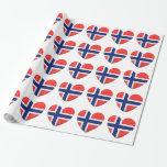 Norwegian Flag Heart of Norway Gift Wrap Paper