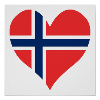 Norwegian Flag Heart Poster