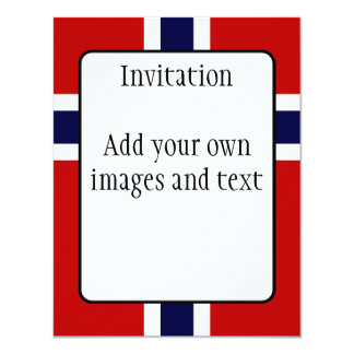 Norwegian Flag - Kongeriket Norge - Norsk Flagg 4.25x5.5 Paper Invitation Card