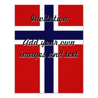 "Norwegian Flag - Kongeriket Norge - Norsk Flagg 4.25"" X 5.5"" Invitation Card"