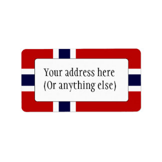 Norwegian Flag - Kongeriket Norge - Norsk Flagg Label