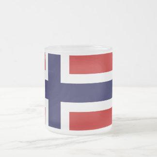 Norwegian Flag - Kongeriket Norge - Norsk Flagg 10 Oz Frosted Glass Coffee Mug