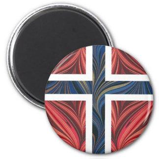 Norwegian Flag Norway Nordic Scandinavian Cross No 2 Inch Round Magnet
