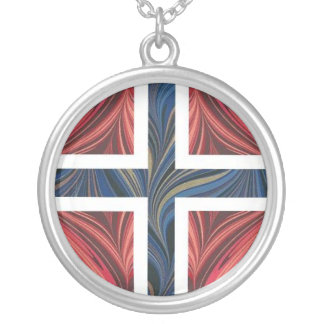 Norwegian Flag Norway Nordic Scandinavian Cross Round Pendant Necklace