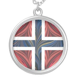 Norwegian Flag Norway Nordic Scandinavian Cross Silver Plated Necklace