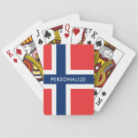 """Norwegian flag of Norway custom playing cards<br><div class=""""desc"""">Norwegian flag of Norway custom playing cards. Scandinavian pride design with personalized name, monogram, funny quote or saying. Cute wedding party favor, travel item or Birthday gift idea for men women and kids. Fun accessory for poker player, black jack, bridge and other gambling games. Also nice as business give away....</div>"""