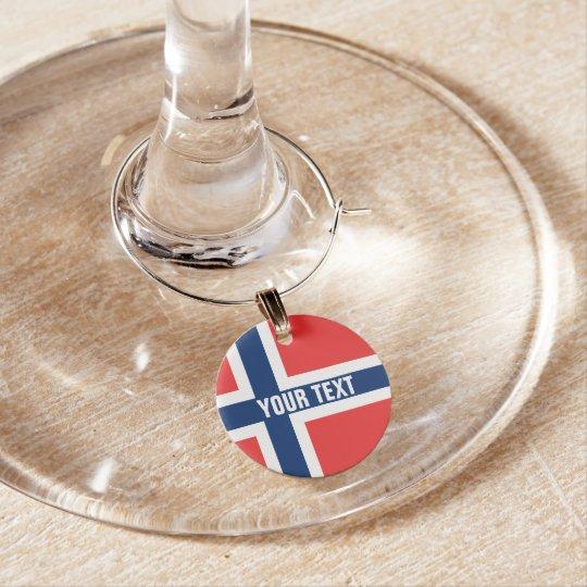 Norwegian flag of Norway custom wine glass charms