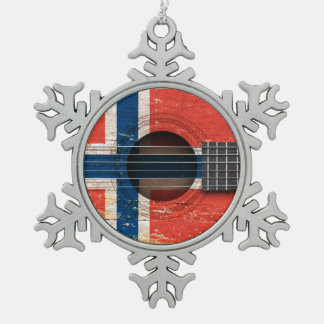 Norwegian Flag on Old Acoustic Guitar Snowflake Pewter Christmas Ornament