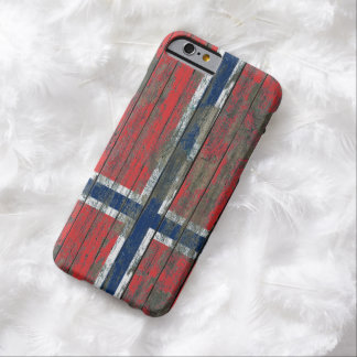 Norwegian Flag on Rough Wood Boards Effect Barely There iPhone 6 Case