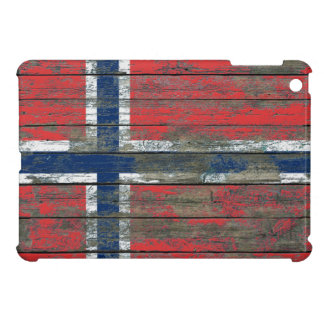 Norwegian Flag on Rough Wood Boards Effect iPad Mini Covers