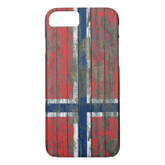 Norwegian Flag on Rough Wood Boards Effect iPhone 7 Case