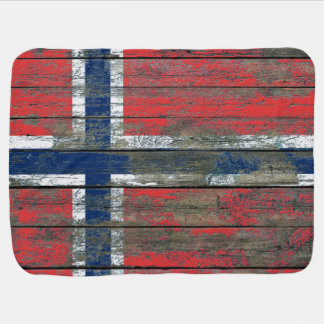 Norwegian Flag on Rough Wood Boards Effect Receiving Blanket
