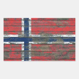 Norwegian Flag on Rough Wood Boards Effect Rectangular Sticker