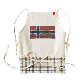Norwegian Flag on Rough Wood Boards Effect Zazzle HEART Apron