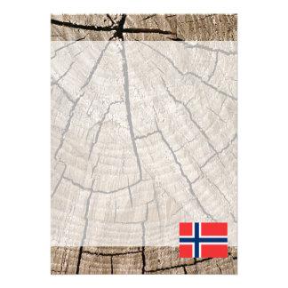 "Norwegian flag on tree bark 5"" x 7"" invitation card"