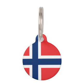 Norwegian flag pet name tag